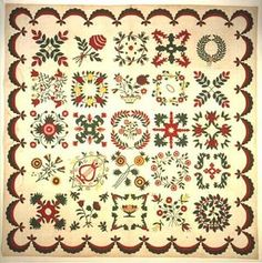 "Unknown artist, ""Eli Lilly Family Quilt,"" 1847; Indianapolis Museum of Art, Gift of Louise Emerson Francke, a great great granddaughter of Eli Lilly of Baltimore County, Maryland, 1996.281"