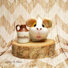 Guinea Pig Moonshiner by Heather Sellers.  #hooch #lampwork #glass #flamework #moonshine #guineapig #miniature