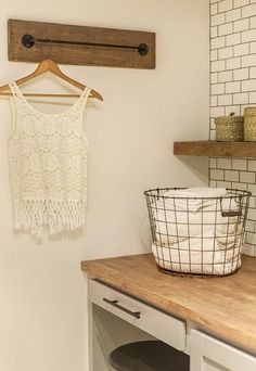 HNew Laundry Room: The Reveal!  The curtain rod is a great alternative for…