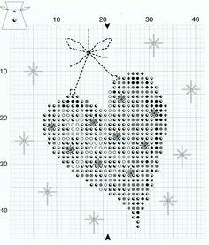 Cross-stitch Christmas Sachet Sets, part 4...    Christmas Heart Sachet, Chart Page, Page 2/2d, PN-0145602