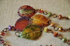 Leafy Litter Bracelet  Fall Pantones Crisp by OrnamentLounge, $30.00