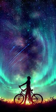 Said the Stars by Wenqing Yan [Yuumei art] Yuumei Art, Ciel Nocturne, Exposure Photography, Night Photography, Digital Art Photography, Landscape Photography, Wow Art, Anime Scenery, Galaxy Wallpaper