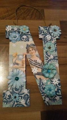 "14"" Wooden Initial  $30 Beach Theme Teal, Light Blue, Blue, White, 3D Flowers"