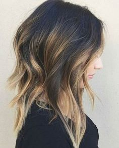 Caramel Highlights on Long Bob Haircut