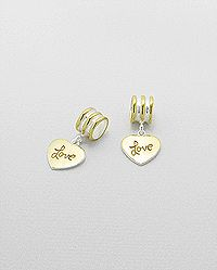 Sterling silver love-heart bead-charm, plated with yellow gold, pure silver & e-coat. Wholesale Beads, Love Heart, Silver Jewelry, Plating, Stud Earrings, Sterling Silver, Yellow, Coat, Accessories