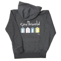 Southwold Beach Hut Hoodie - Charcoal Marl
