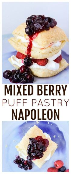 Mixed Berry Puff Pastry Napoleon - Need a quick and easy patriotic-inspired dessert recipe? This Red, White, and Blue Mixed Berry Puff Pastry Napoleon, made with strawberries, raspberries, and blueberries, is super delicious and comes together in a snap! | #dlbrecipes #napoleon #patrioticdessert #dessert #mixedberries