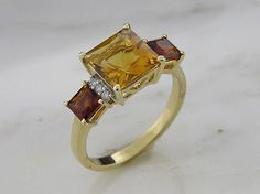 14 K Yellow Gold with Citrine, Madeira and Diamond Ring