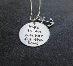 Hand Stamped Jewelry Hope Is An Anchor For The Soul Necklace Ready to Ship