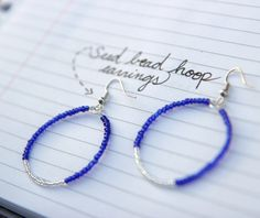 Seed bead wire earrings handmade by Ginger Wraps