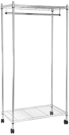 Amazon.com - AmazonBasics Garment Rack with Top and Bottom Shelves - Chrome -