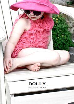 Le Petit Tom ® - bathing suit, badpak, roze badpak, dolly, pink bathing suit, ruffled swimsuit