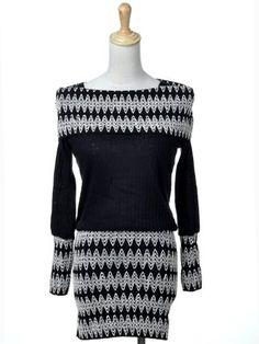 Anna-Kaci S/M Fit Black White Alternating Chevron Print Winter Sweater Dress