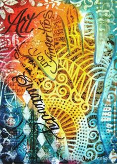 StencilGirl Talk: Creativity - At Your Fingertips. Art Journal page using a stencil by Linda Cain.