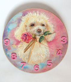 Poodle portrait PAINTED CLOCK DOG portrait by CanisArtStudio