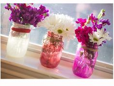 Painted Mason Jars with Flowers & ribbon tied around - love the color combos