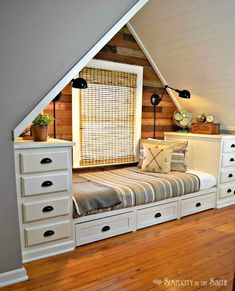 Built-in Bed Using Kitchen Cabinets. Make this cozy built-in bed with stock kitchen cabinets. Add trundle drawers for more storage. Attic Rooms, Attic Spaces, Small Spaces, Small Rooms, Attic Apartment, Attic Bedroom Ideas Angled Ceilings, Sloped Ceiling Bedroom, Attic Bedroom Small, Attic House