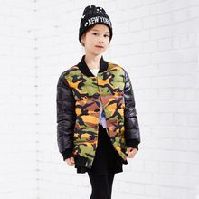 Army Green Camouflage Winter Light Down Coat for Boys Kids New Jackets Outerwear Christmas Gift 110-160cm Outerwear Children(China (Mainland))