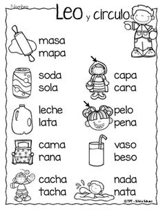 Puedo leer palabras - Leo y circulo by Silvia Schavz Elementary Spanish, Spanish Classroom, Elementary Schools, Preschool Spanish, Spanish Lessons For Kids, Spanish Teaching Resources, Learn Spanish, Bilingual Education, Kids Education