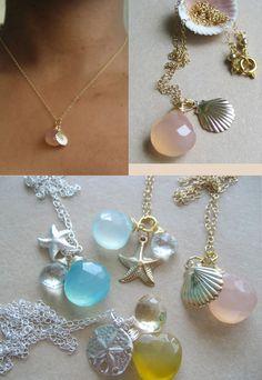 Scallop Charm Necklace, Gemstone Jewelry, Gemstone Necklace, Nature Jewelry, Nature Inspired, Pink Chalcedony, Sea life, Seashell