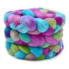 Corriedale Wool Top Roving Hand Dyed in Rainbow Colours 12768 Wet Felting, Needle Felting, Wool Wash, Rainbow Colours, Grab Bags, Color Mixing, Mittens, Spinning, Throw Pillows