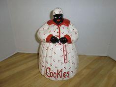 Vintage McCoy Mammy Cookie Jar Aunt Jemima Black Americana Red Polka Dots