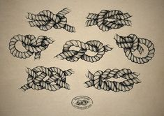 Various knots for Rope Tattoo (Front Left Shoulder).