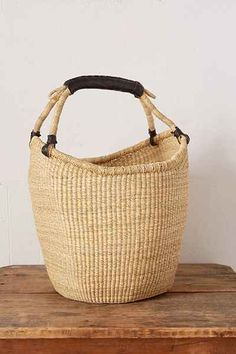 Vintage Tan Woven Basket - Urban Outfitters