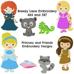 Princess Design Set 1 4X4 and 5X7: Breezy Lane Embroidery