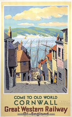 Come to Old World. Vintage Great Western Railway Travel poster by S I Veale Cornwall, Come to Old World. Vintage Great Western Railway Travel poster by S I VealeCornwall, Come to Old World. Vintage Great Western Railway Travel poster by S I Veale Nostalgia, British Travel, National Railway Museum, Travel Ads, Shopping Travel, Railway Posters, Great Western, Art Deco Posters, Cornwall England