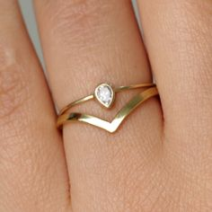 Pear Diamond Wedding Set with a Curved Wedding Band - 14k Gold by artemer on Etsy