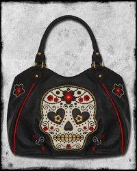 BANNED BLACK RED CANDY SUGAR SKULL ROSE TATTOO ROCKABILLY SHOULDER HAND BAG