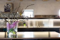 Küche mit Edelstahlabdeckung, Fronten Sperrholz Birke