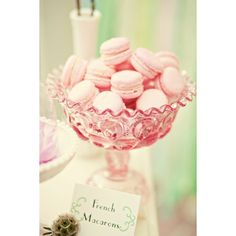 pink macaroons and pink vintage bowl #pink #macaroons #vintage #bowl ❤ liked on Polyvore featuring home, kitchen & dining, serveware, vintage bowl and pink bowl