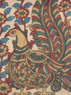 Pink-Blue Multicolor Ikat Hand Painted Kalamkari Cotton Dupatta