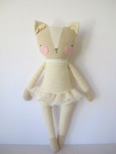 luckyjuju kitty girl cat lovie doll by luckyjuju on Etsy, $65.00