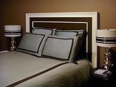 Headboard alternative - crown moulding :) this is what i was mentioning they do in hotels a lot.