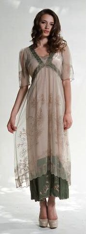 Victorian Style Embroidered Tea Party Dress Sage or Ivory from Romantic Threads.  (NOT Victorian, but lovely)