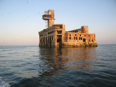 Abandoned Torpedo Shop [sic] 8. [It is] 2.7km off the coast of Kaspiysk, Russia in the Caspian Sea