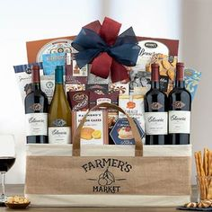 Wine Gift Baskets - All Occasion Wine Gift Basket Wine Gift Baskets, Gourmet Gift Baskets, California Wine, Wine Gifts, Farmers Market, Wines, Special Occasion, Snacks, Gift Ideas