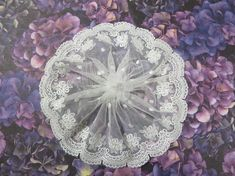 Handmade Cream Embroidered Tulle Lace Doily Head Cover with