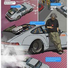 ArtStation - subclas s Japanese Illustration, Car Illustration, Car Drawings, Cartoon Drawings, Nissan R34, Porsche, Japan Cars, Car Sketch, Bike Art