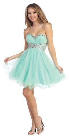 A beautiful short party dress with crystal embelished empire waist, sweetheart neckline, and ruffled hem