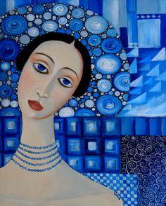Wendy Ryan Folk Art Blog: A Woman in Blue Painting