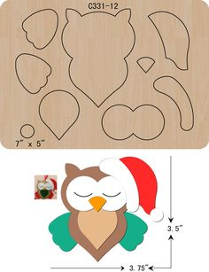 New Christmas OWL Wooden die Scrapbooking Cutting Dies Owl Crafts, Animal Crafts, Diy And Crafts, Paper Crafts, Crafts For Kids, Christmas Owls, Christmas Crafts, Art Books For Kids, Felt Animal Patterns