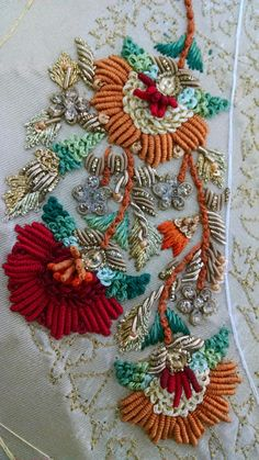 This Pin was discovered by LaL Zardosi Embroidery, Tambour Embroidery, Hand Work Embroidery, Indian Embroidery, Brazilian Embroidery, Embroidery Fashion, Silk Ribbon Embroidery, Hand Embroidery Designs, Beaded Embroidery