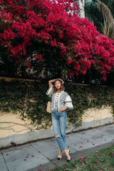 Striped Sweater and Denim For A Casual Day In LA