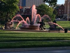Red fountains for the Chiefs, and pink for breast cancer in October.