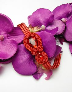 Great gift for soutache lovers. Romantic RED soutache bracelet glamour crystal – a unique product by Soutacheria via en.DaWanda.com