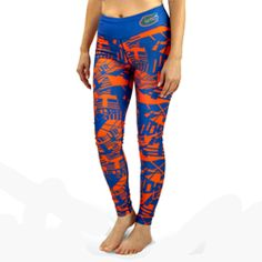 Florida Gators Geometric Print Leggings - Material: 88% polyester/12% spandex - Elastic waistband with team logo - High-Quality Printed Graphics - Officially Licensed